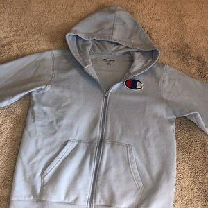light blue champion full zip sweatshirt